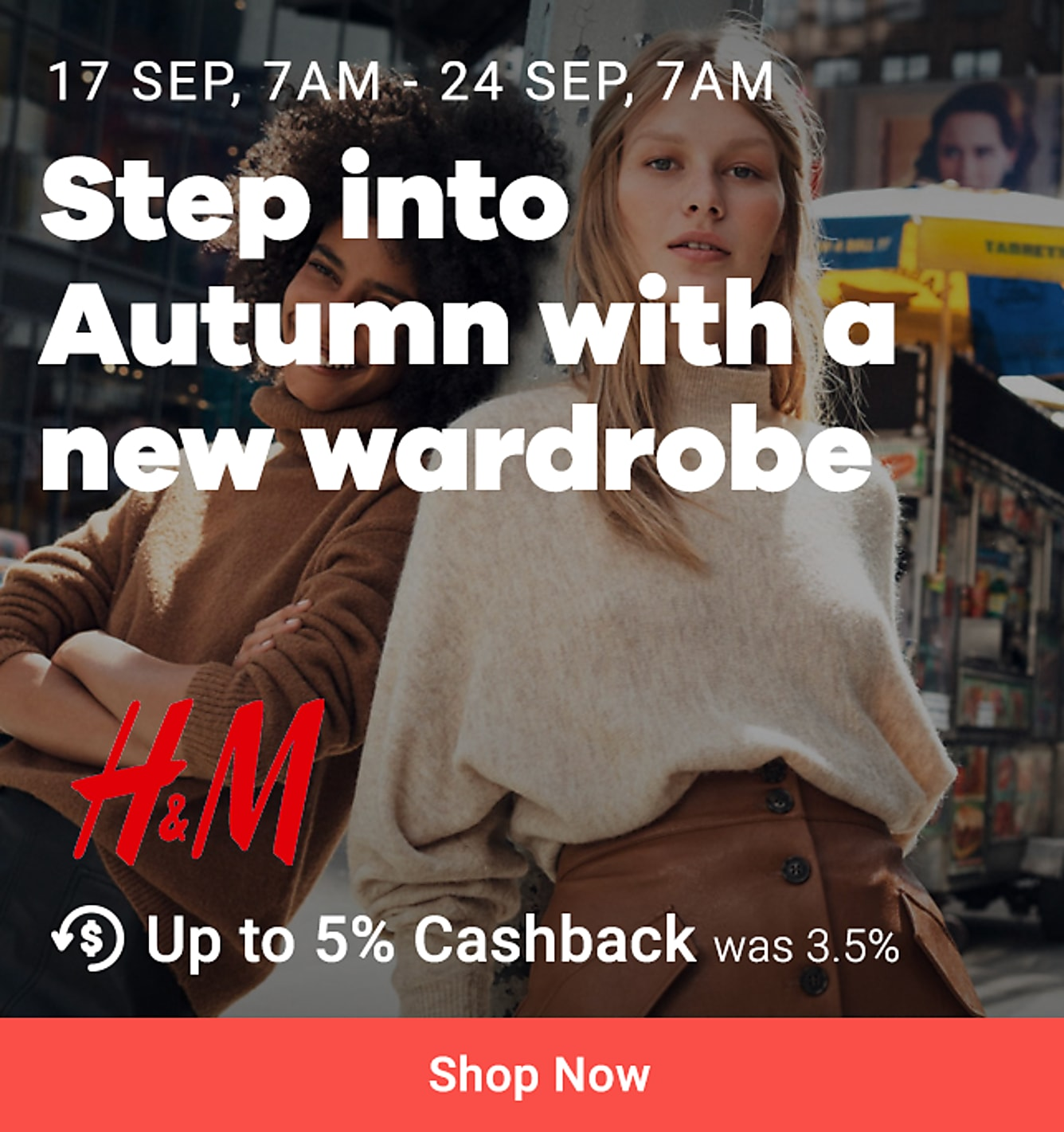 New launch: H&M 17 sep 7am - 24 sep 7am 5% upsized cb (was 3.5%)