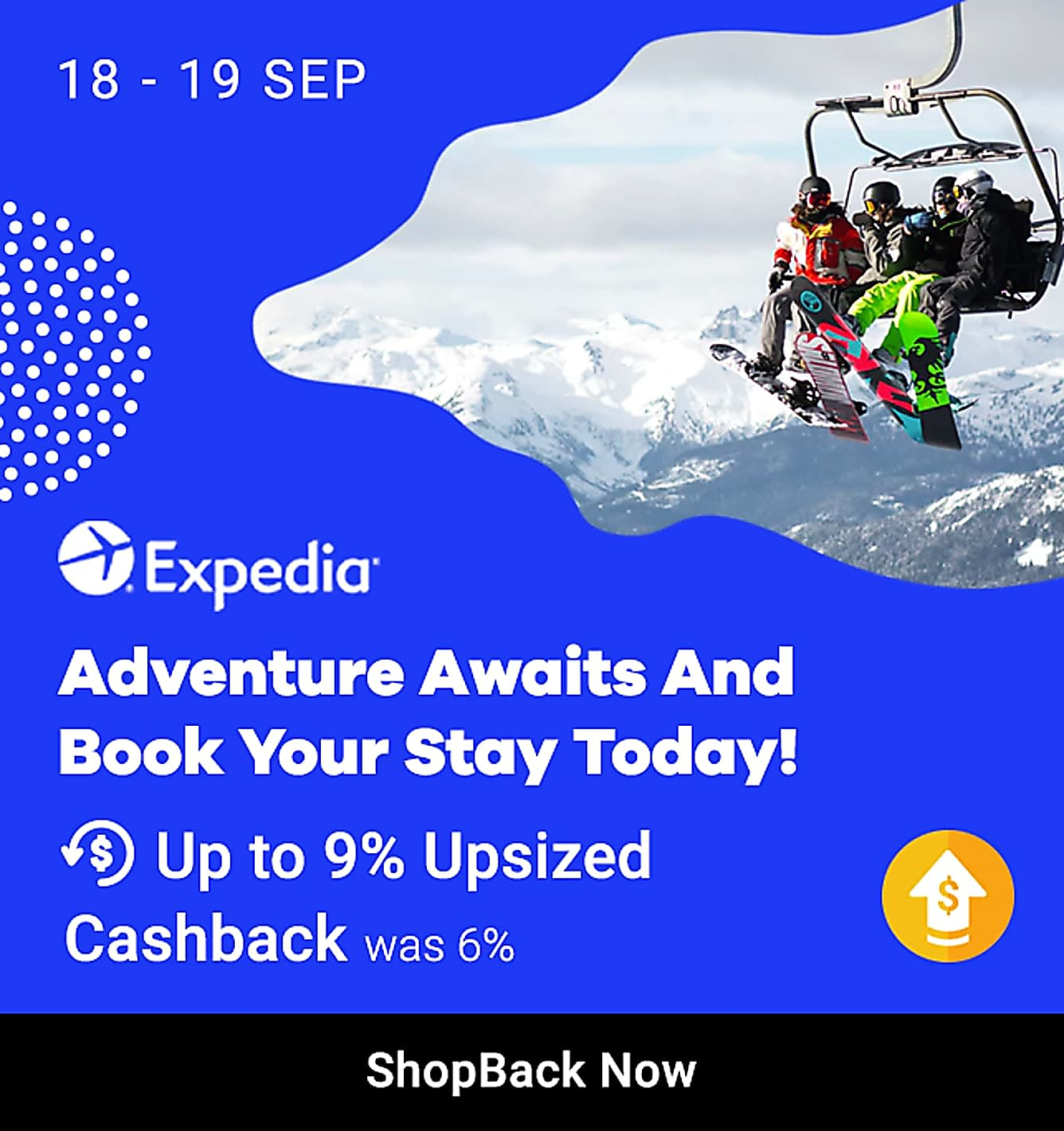 Expedia hotels 9% upsized cashback 18-19 sep