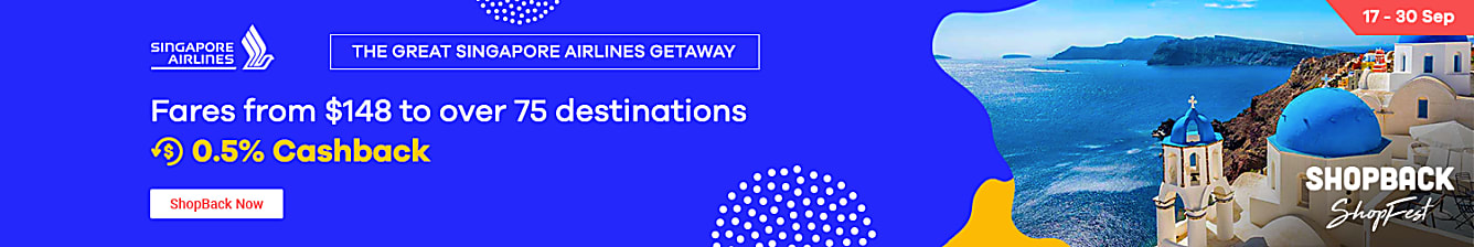 Singapore Airlines Till 30 Sep: The Great Singapore Airlines Getaway sale. Fares from S$148 to over 75 destinations + 0.5% Cashback. URL here Push with Expedia Double Cashback, Agoda upsized and all accommodation upsizes.