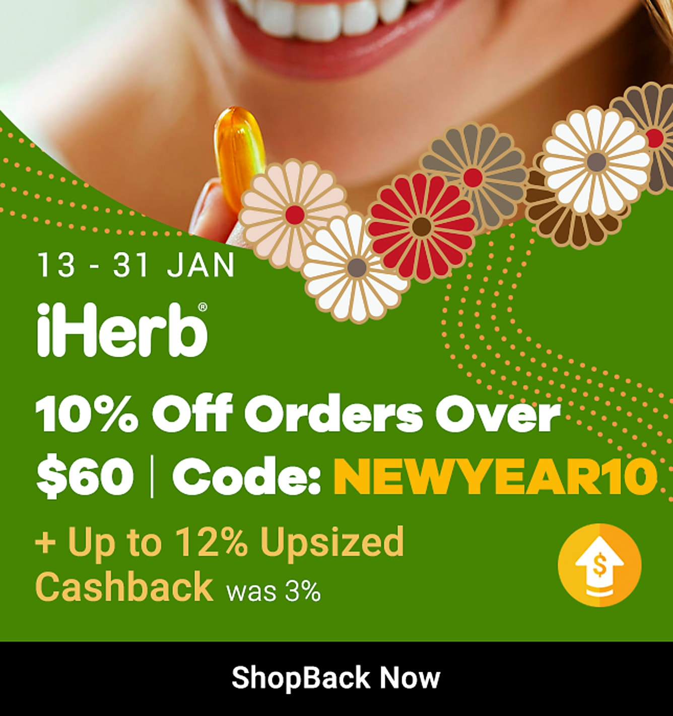 iherb 10% off orders over $60 + 12% upsized cashback