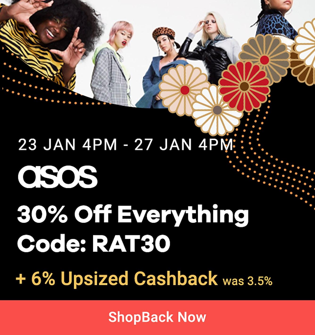 asos 30% off everything + 6% upsized cashback