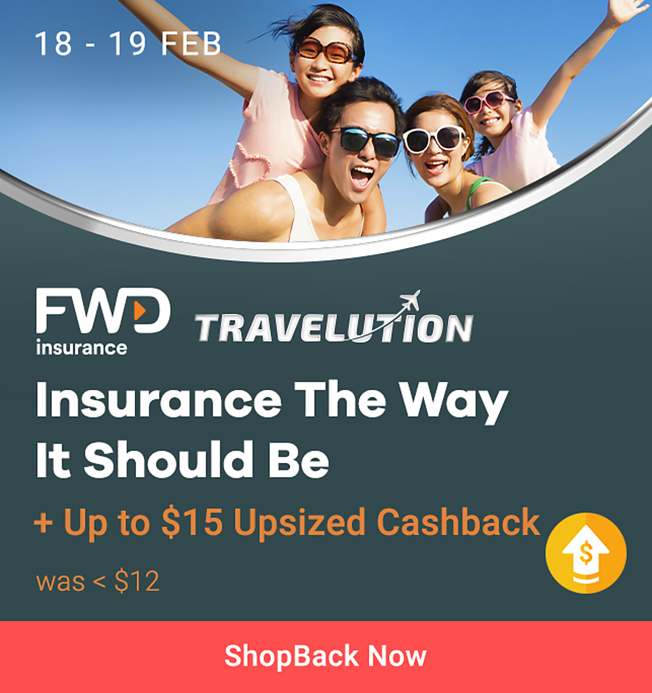 fwd up to $15 upsized Cashback