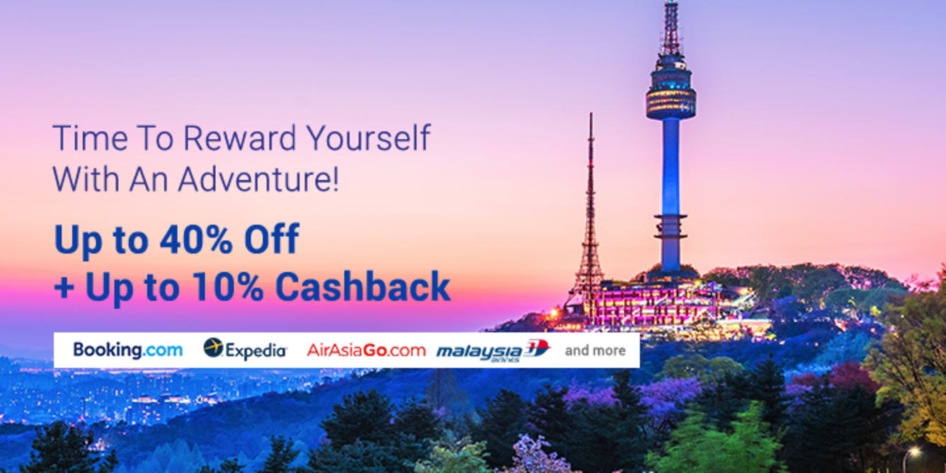 Travel Deals Get Up To 40% off + up to 10% cashback