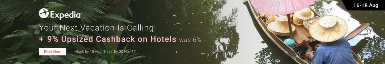 Expedia Upsized cashback 9% was 6%