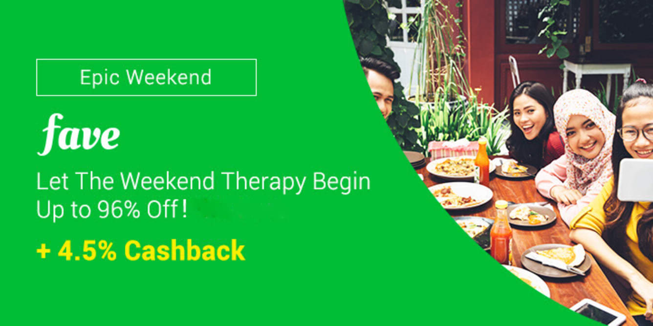 Fave weekend up to 85% off + 4.5% cashback