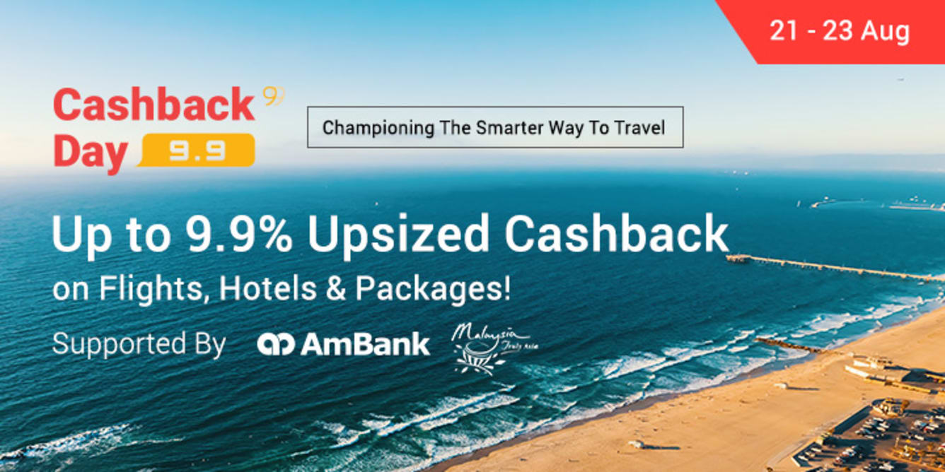 Pre 9.9 Cashback Day Travel Campaign 21 - 23 Aug 2017