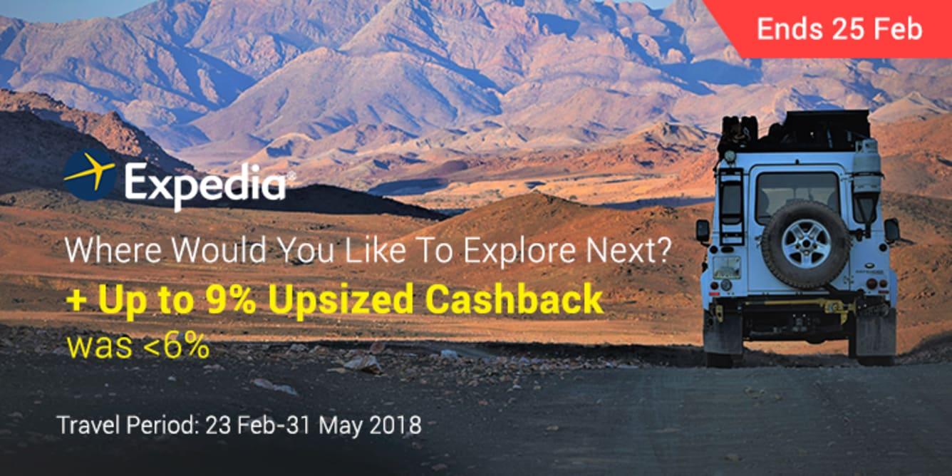 Expedia Up To 9% Upsized Cashback - ShopBack