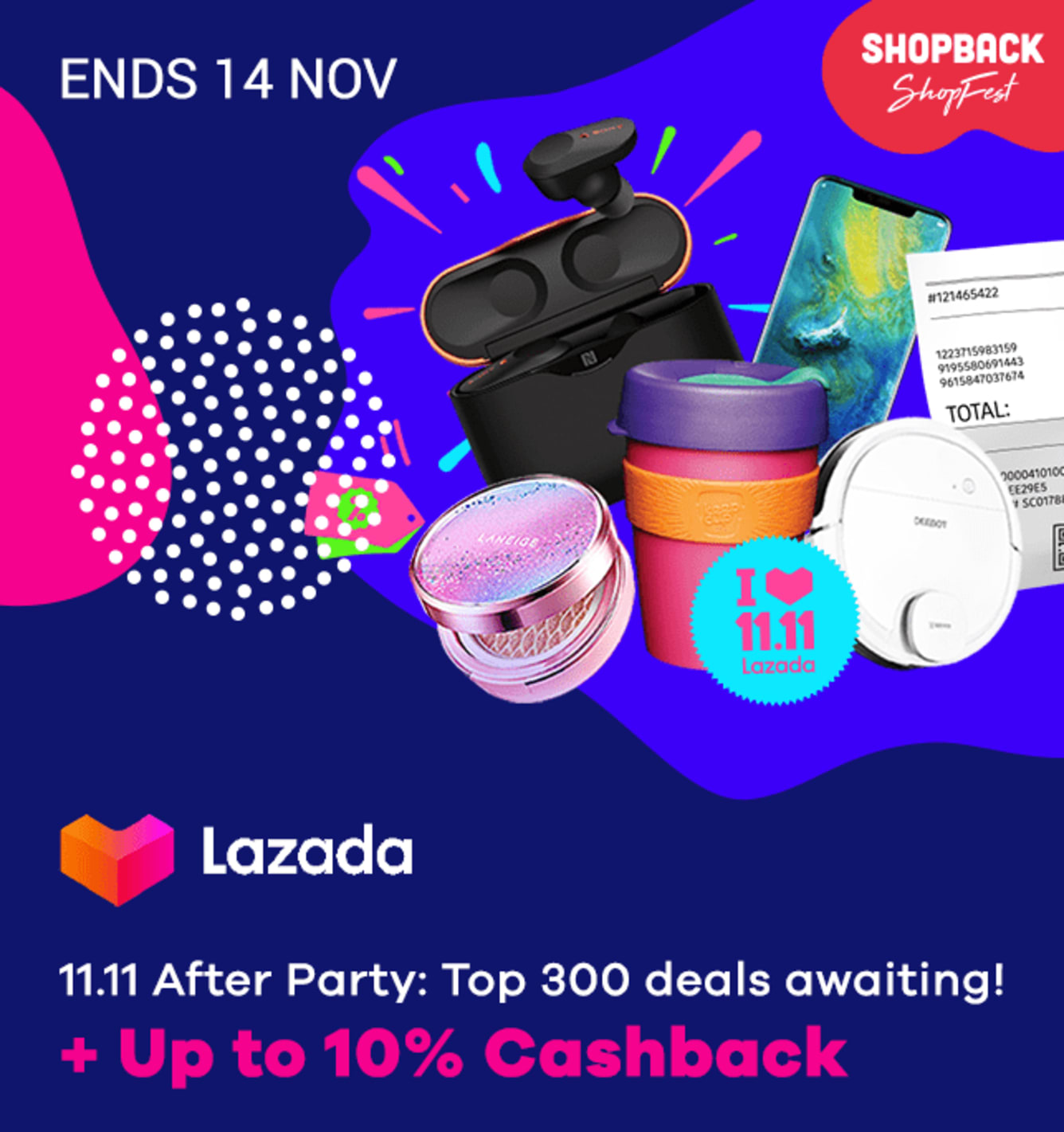 Lazada 11.11 Sale + 10% Cashback
