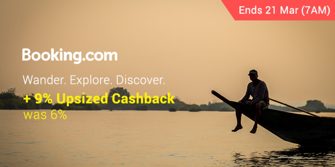 Booking.com 9% Upsized Cashback March - ShopBack