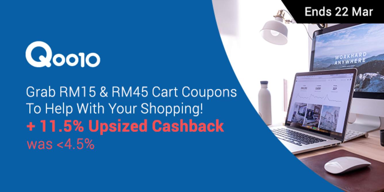 Qoo10 11.5% Upsized Cashback RM15 & RM45 Cart Coupon - ShopBack