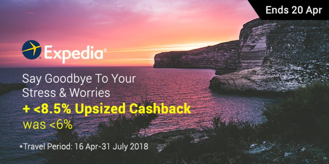 Expedia Up To 8.5% Upsized Cashback April - ShopBack