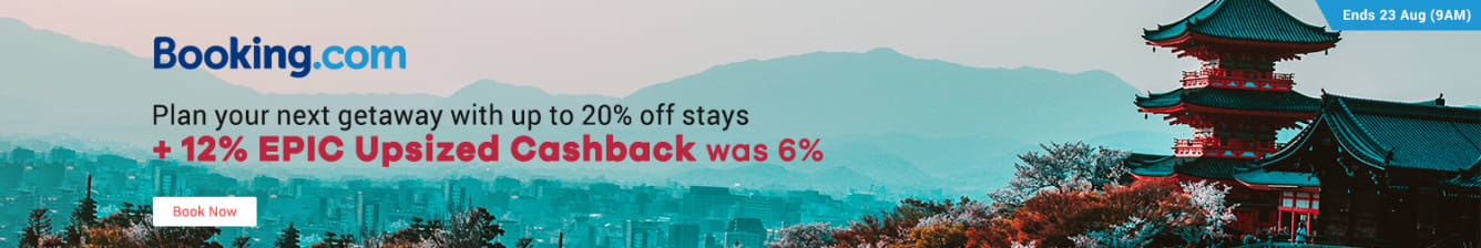 Travel Fair: Booking.com 12% Upsized Cashback