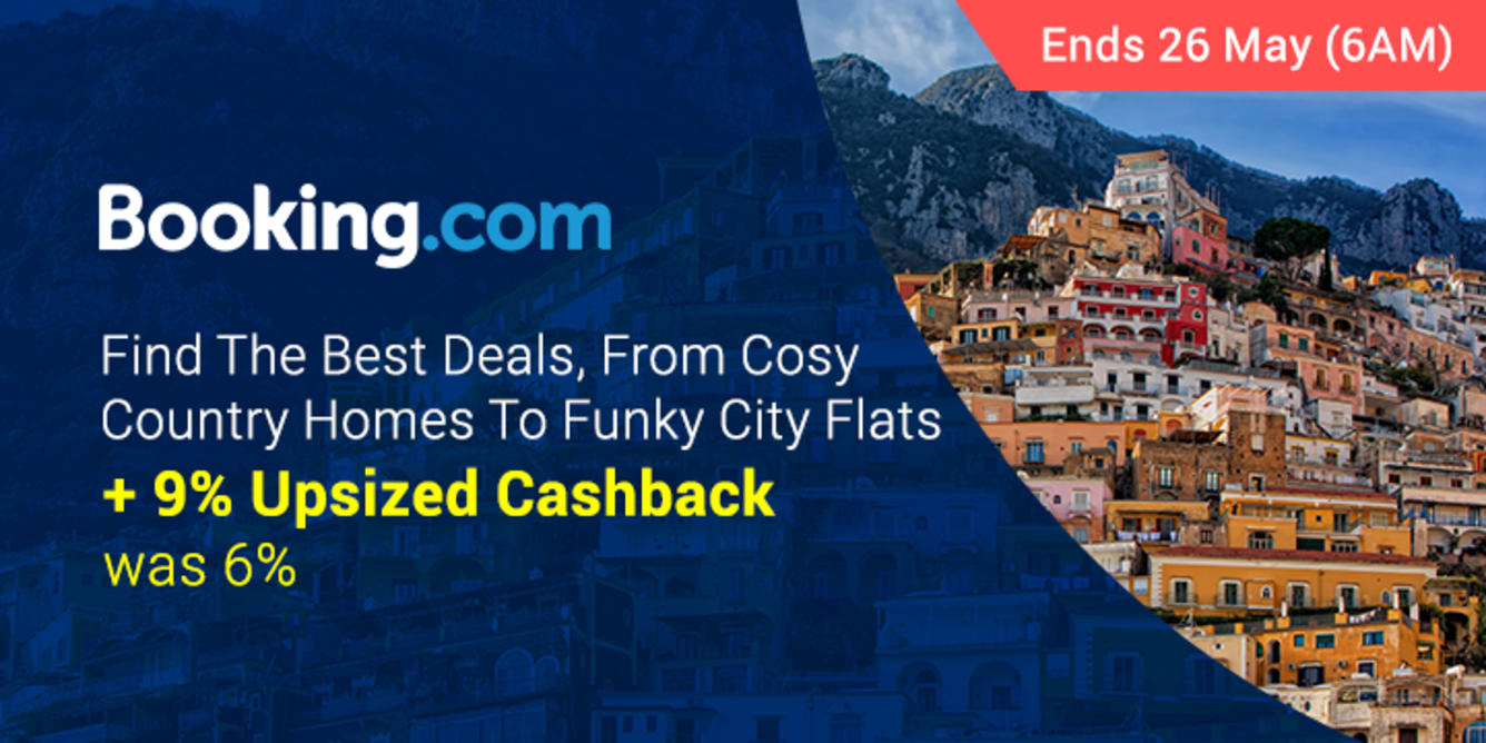 Booking.com 9% Upsized Cashback May - ShopBack