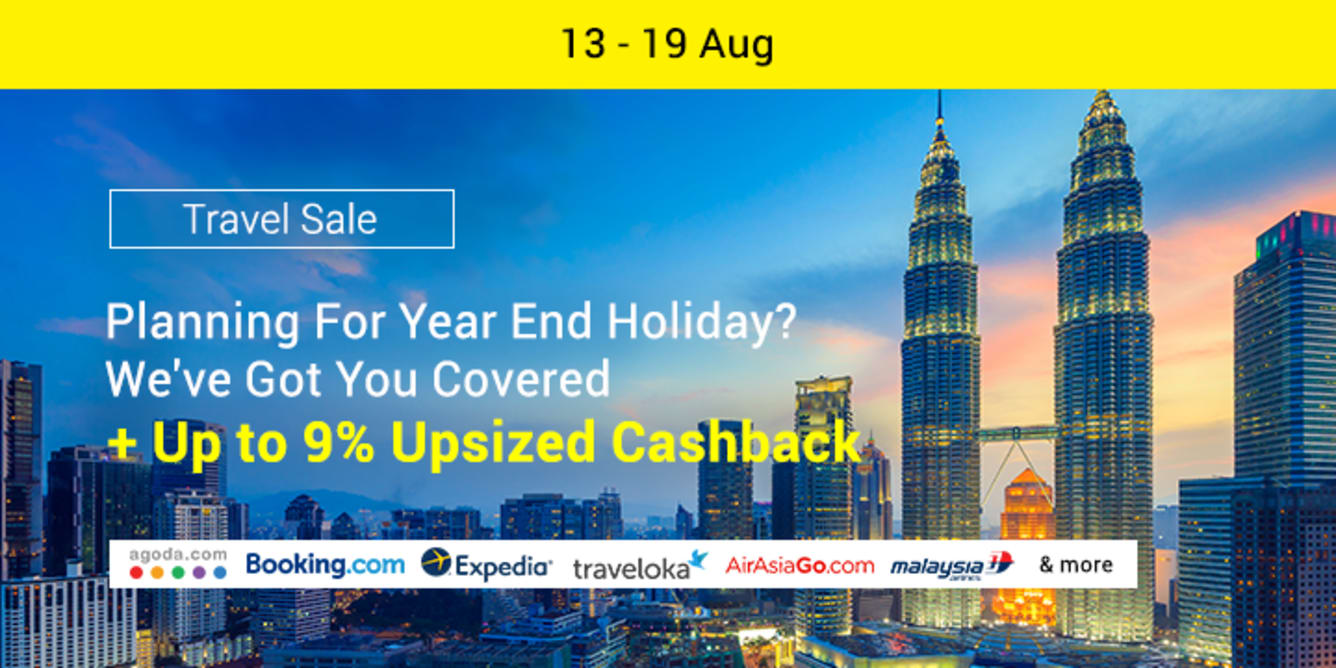 Travel Sale August 2018 ShopBack Cashback Up to 9% Upsized Cashback