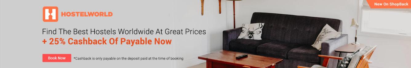 HostelWorld Launch August 2018 - Find The Best Hostels Worldwide ShopBack Cashback