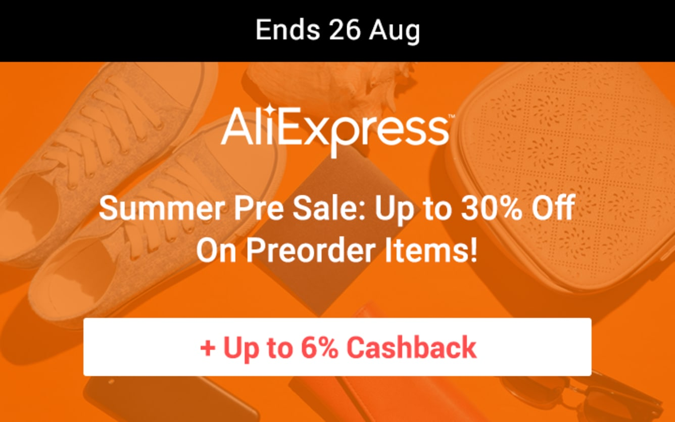AliExpress Summer Presale August 2018 ShopBack Cashback