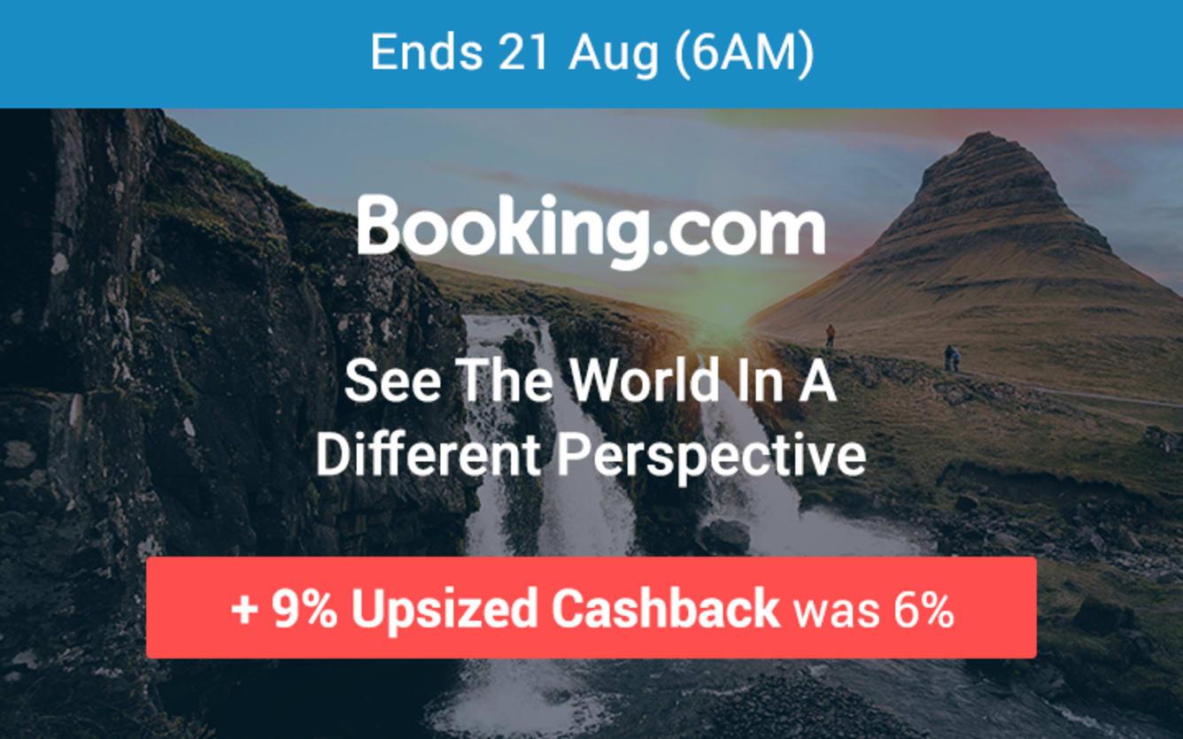 Booking.com 9% Upsized Cashback 14 August 2018- ShopBack Cashback