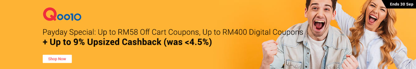Qoo10 Payday Up to RM400 Coupons Up For Grabs ShopBack Cashback September 2018