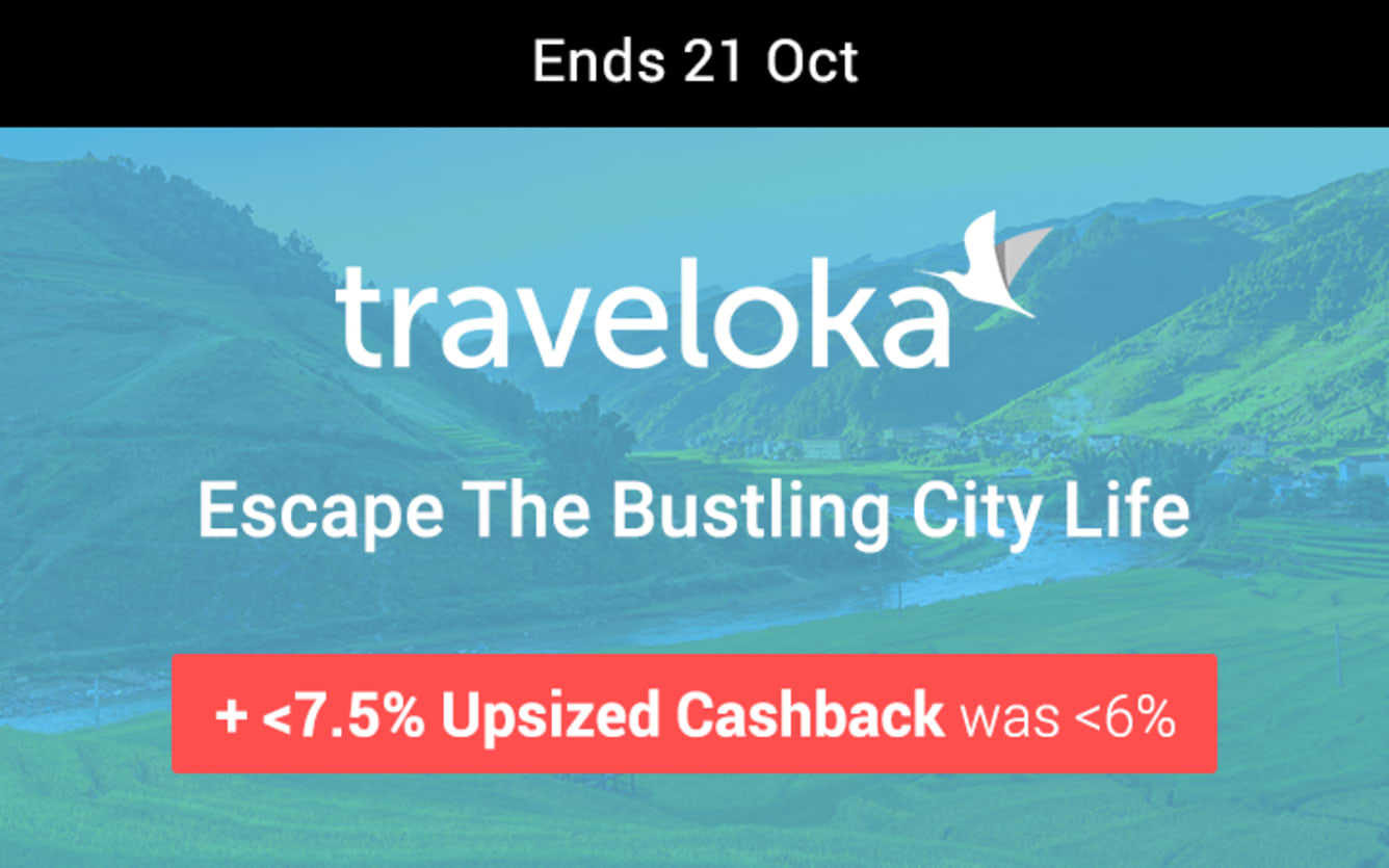 Traveloka Up to 7.5% Upsized Cashback ShopBack October 2018