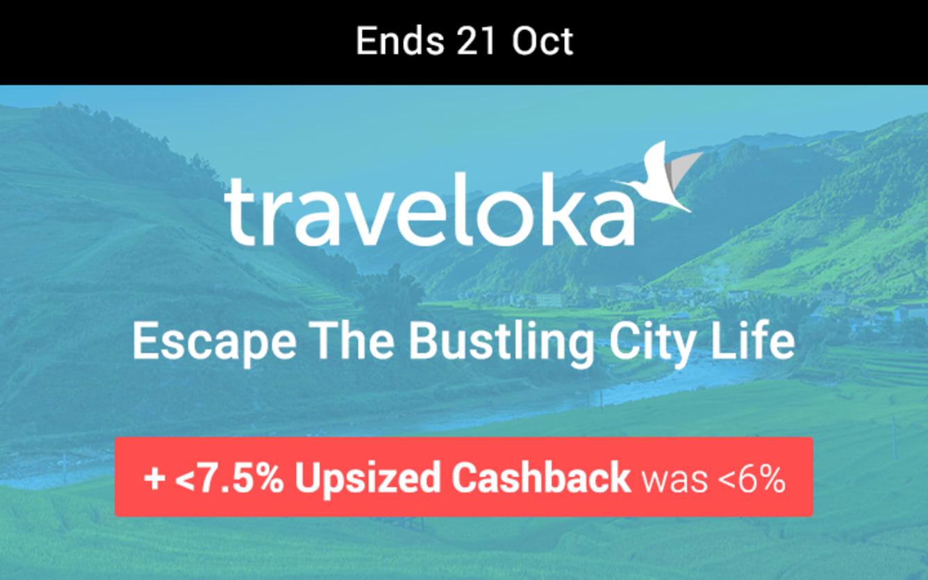 Traveloka Up to 7.5% Upsized Cashback ShopBack October 2018