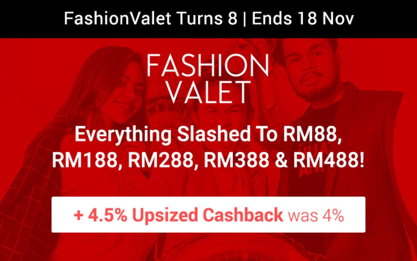 Fashionvalet 4.5% Upsized Cashback ShopBack November 2018