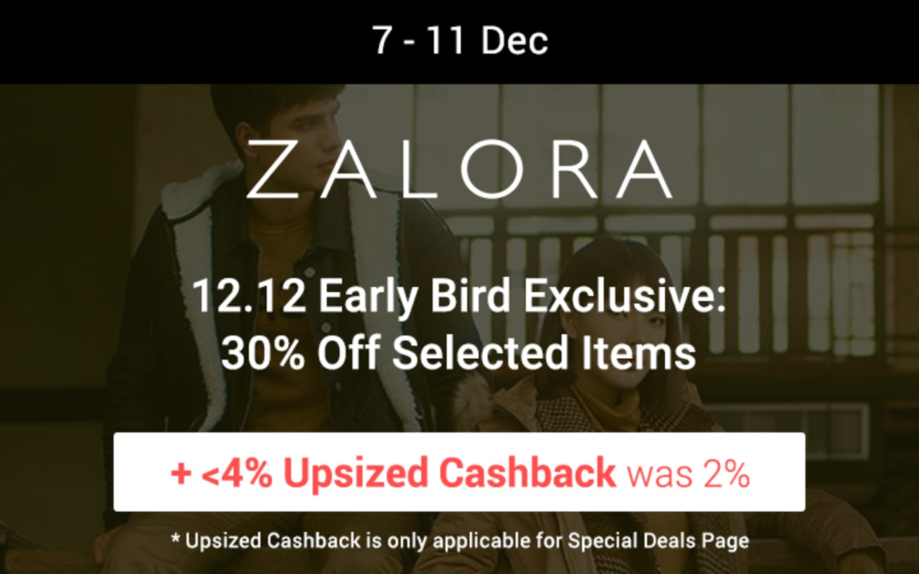 ZALORA 20% Off Sitewide ShopBack Cashback December 2018