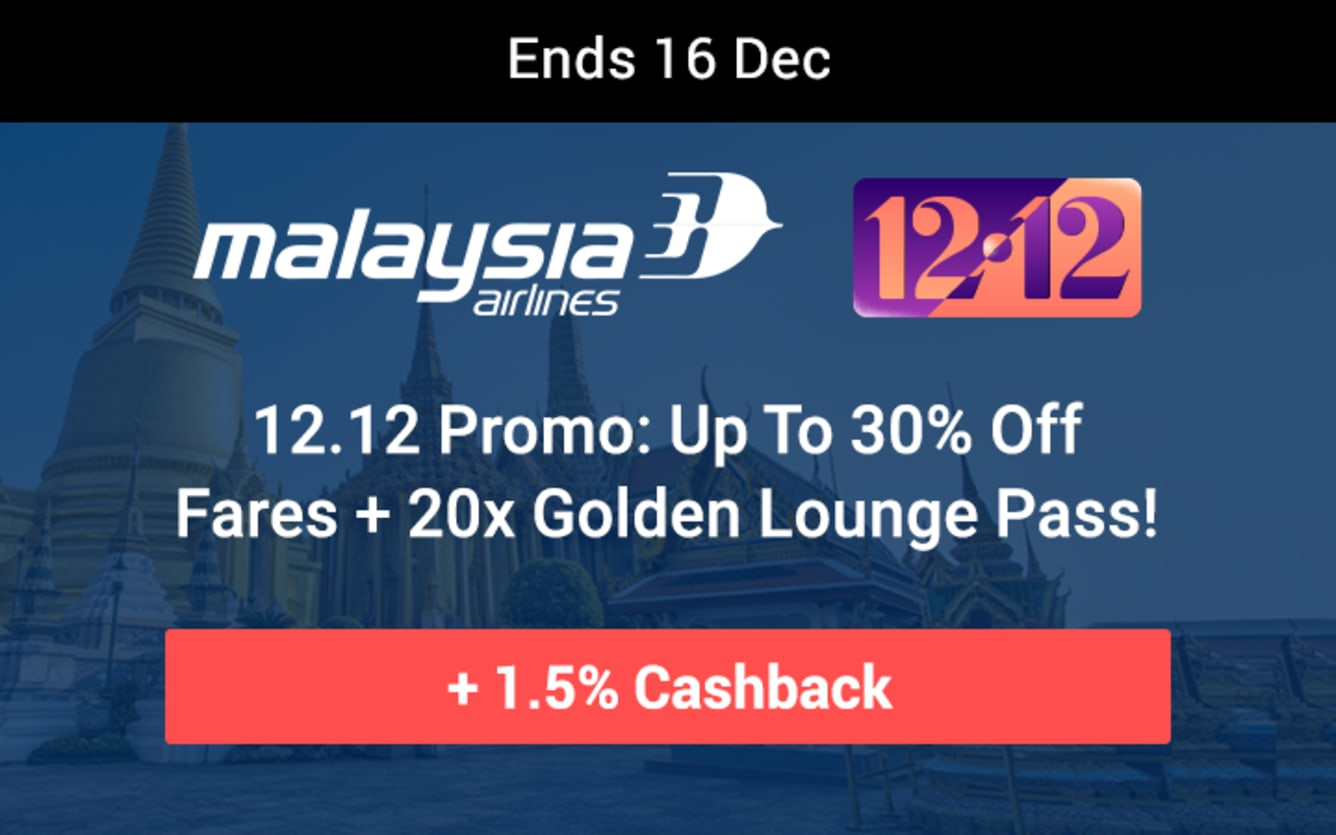 Malaysia Airlines Up To 30% Off Fares ShopBack Cashback December 2018