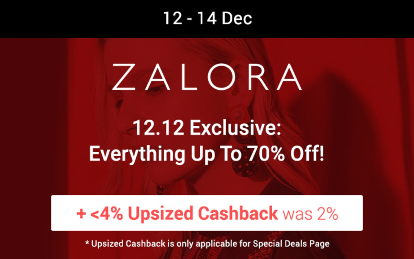ZALORA Up to 70% Off ShopBack Cashback December 2018