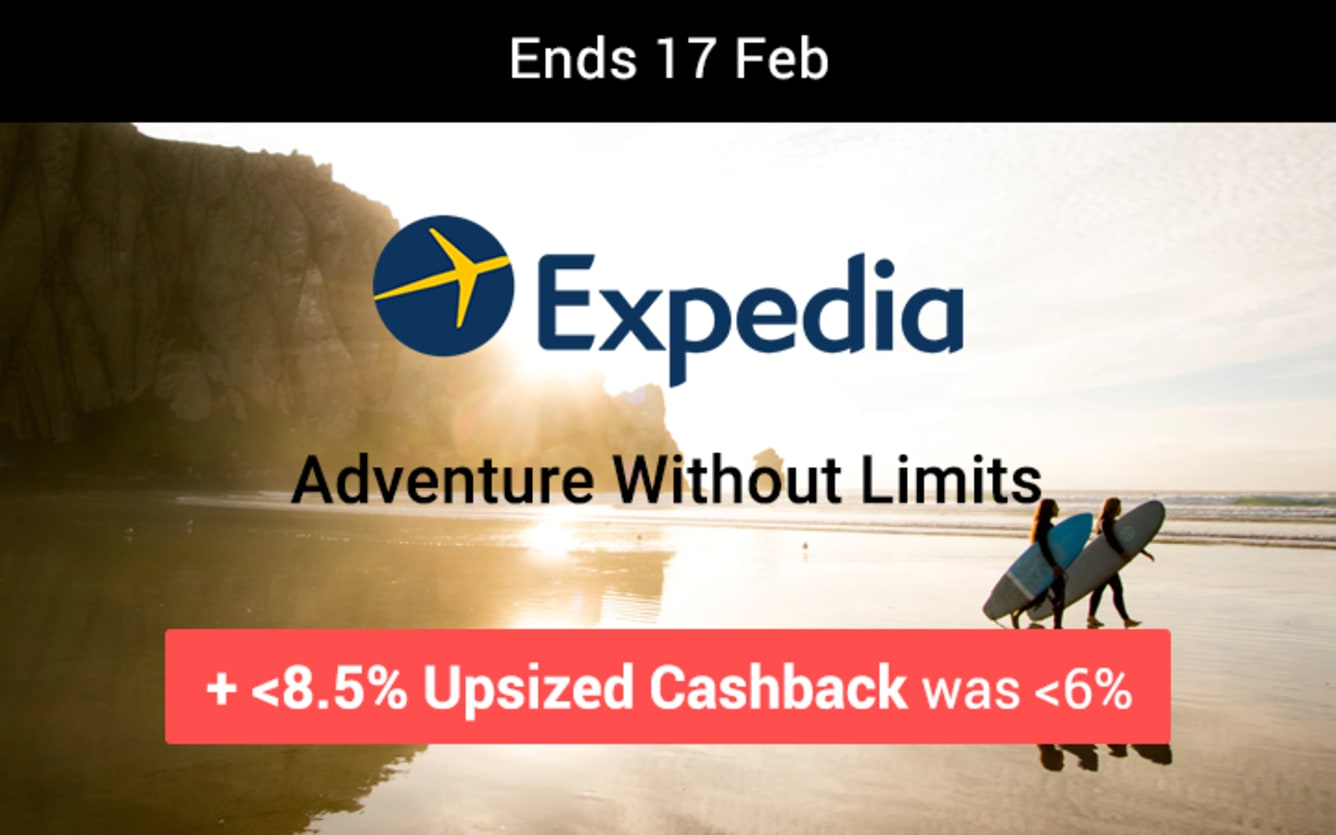 Expedia Up to 8.5% Upsized Cashback February 2019 ShopBack