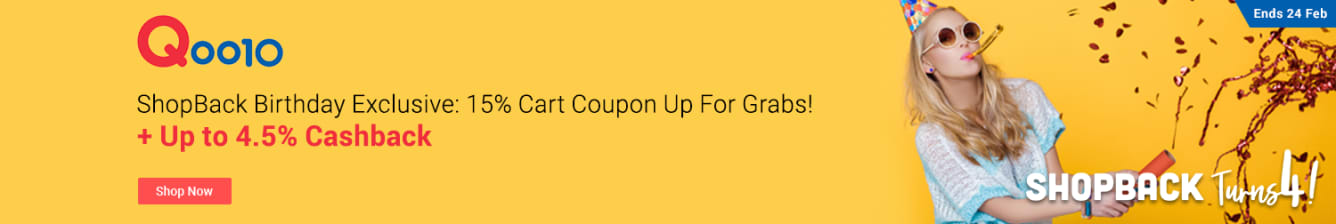 Qoo10 Exclusive 15% Cart Coupon Up to 4.5% Cashback ShopBack February 2019