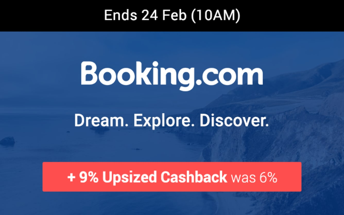 Booking.com 9% Upsized Cashback ShopBack Birthday February 2019