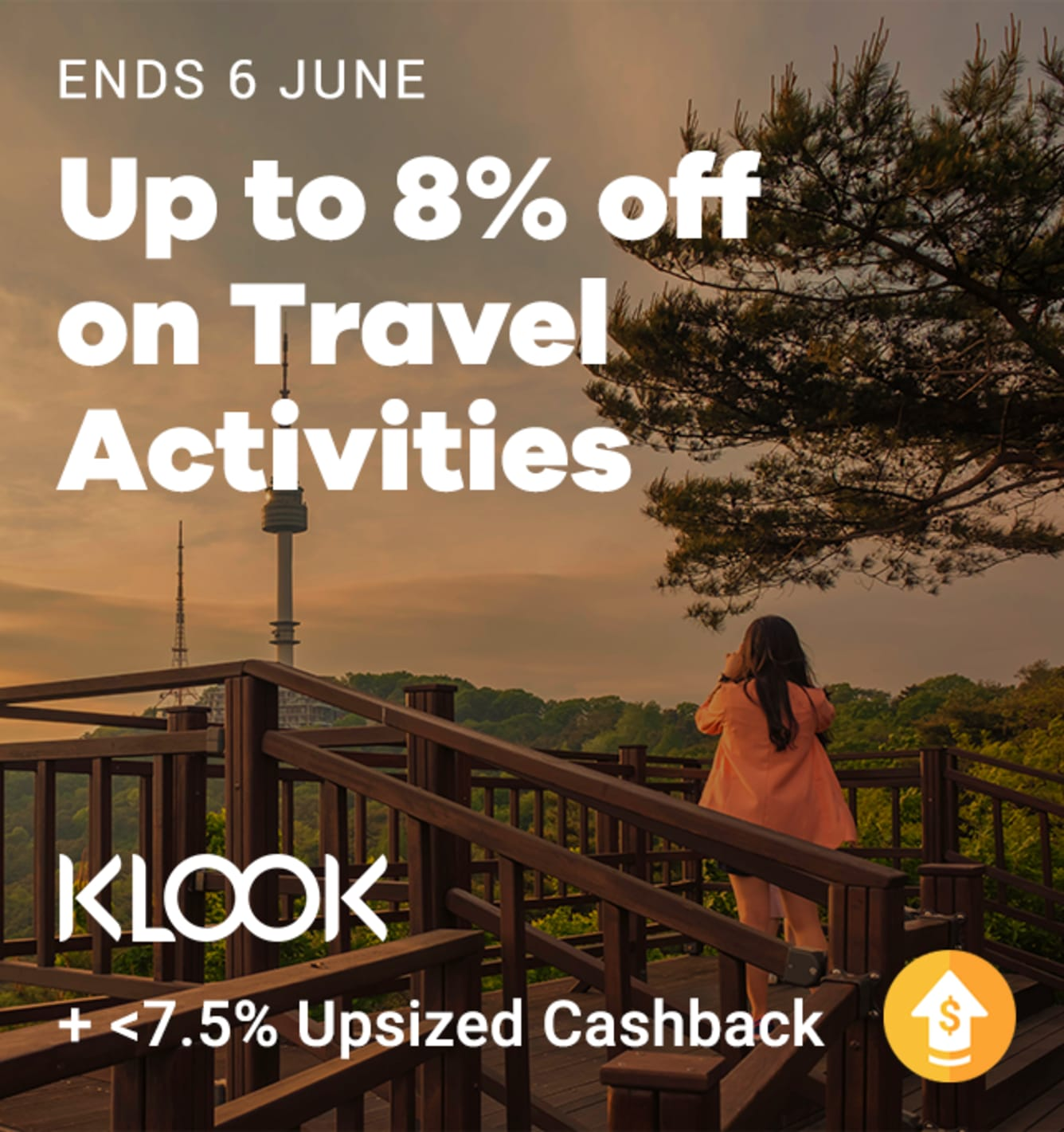 Klook Up to 7.5% Upsized Cashback ShopBack