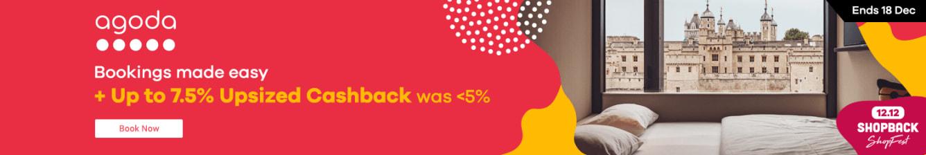 Agoda <7.5% Upsized Cashback ShopFest