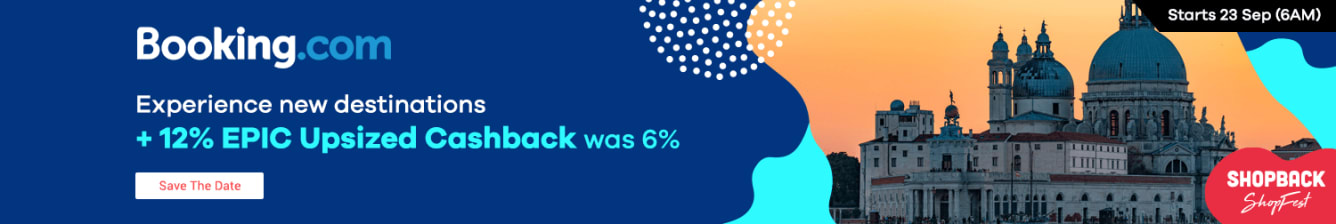 Booking.com 12% Upsized Cashback