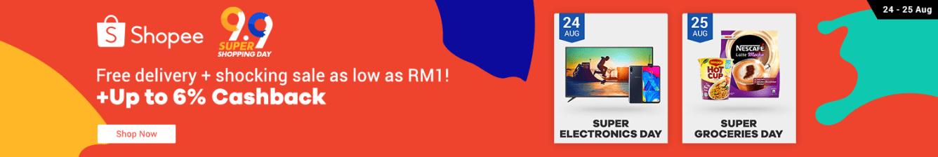 Shopee 9.9 Shocking Sale Up to 6% Cashback