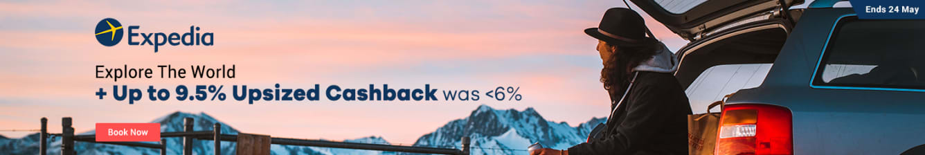 Expedia Up to 9.5% Upsized Cashback