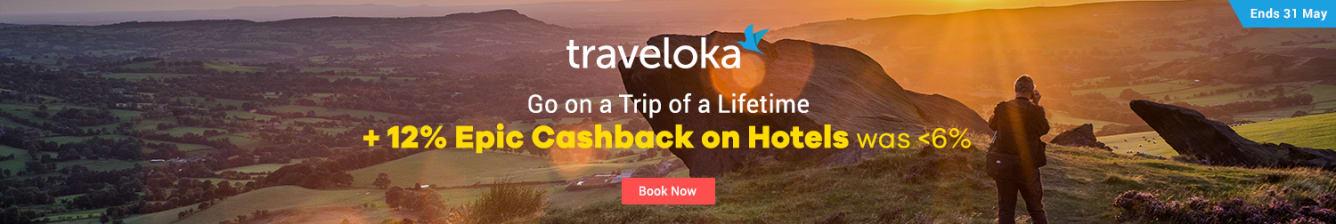 Traveloka 12% Epic Cashback on Hotels ShopBack