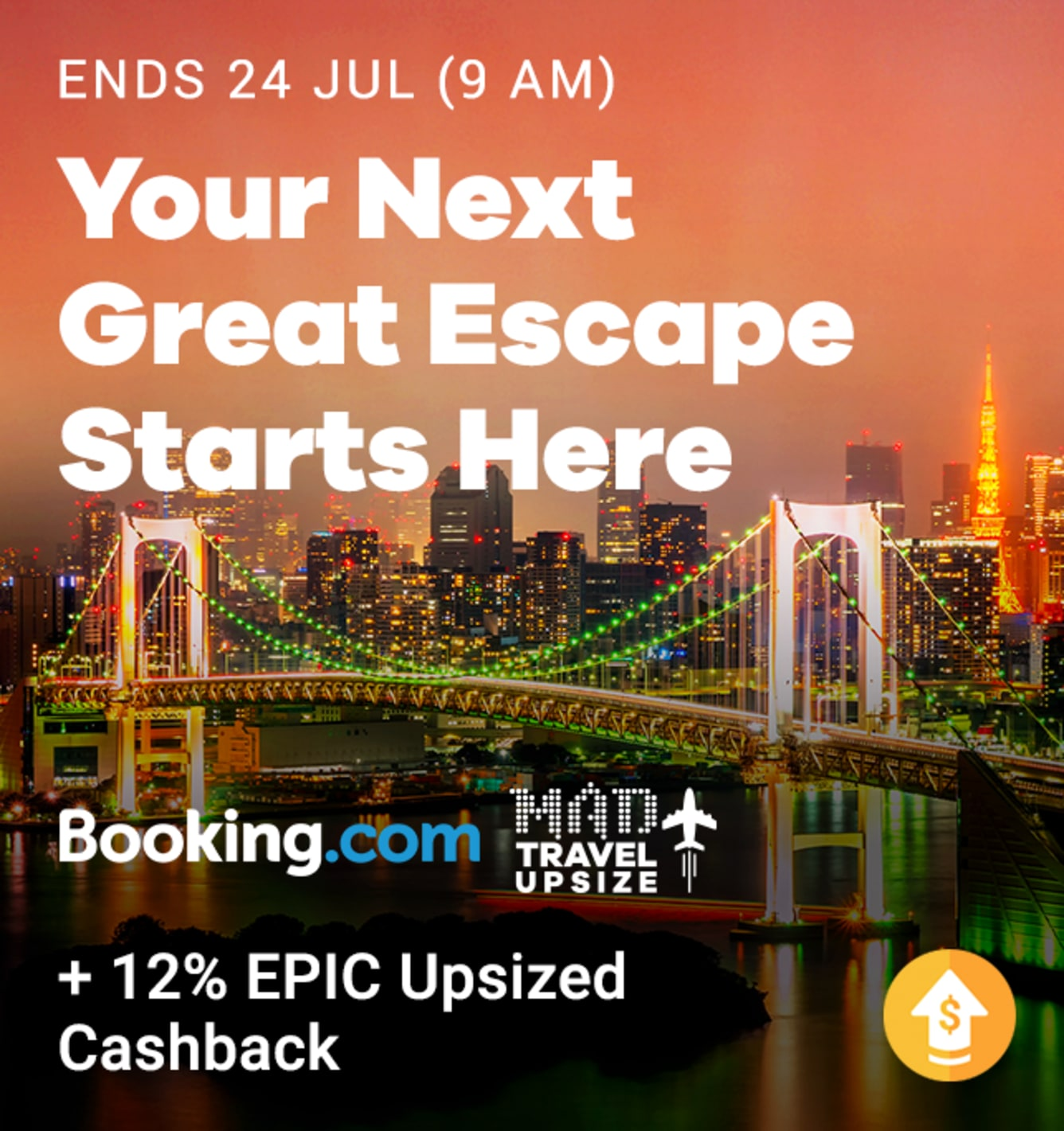 Booking.com 12% EPIC Cashback