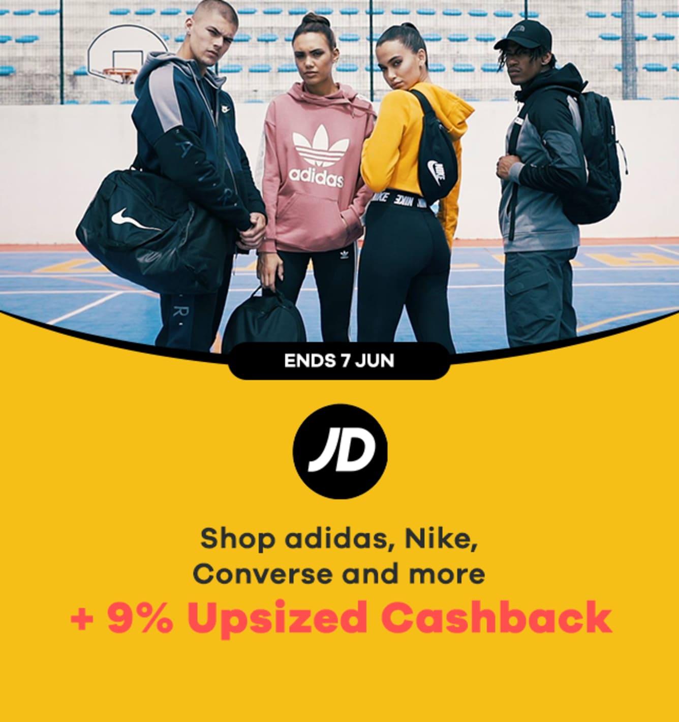 JD Sports: 9% Upsized Cashback