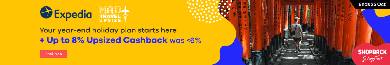 Expedia: 8% Upsized Cashback October 2019