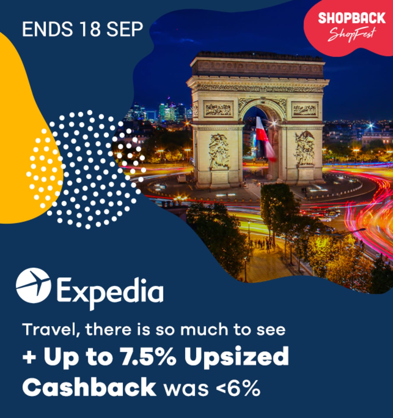 Expedia: 7.5% Upsized Cashback September 2019