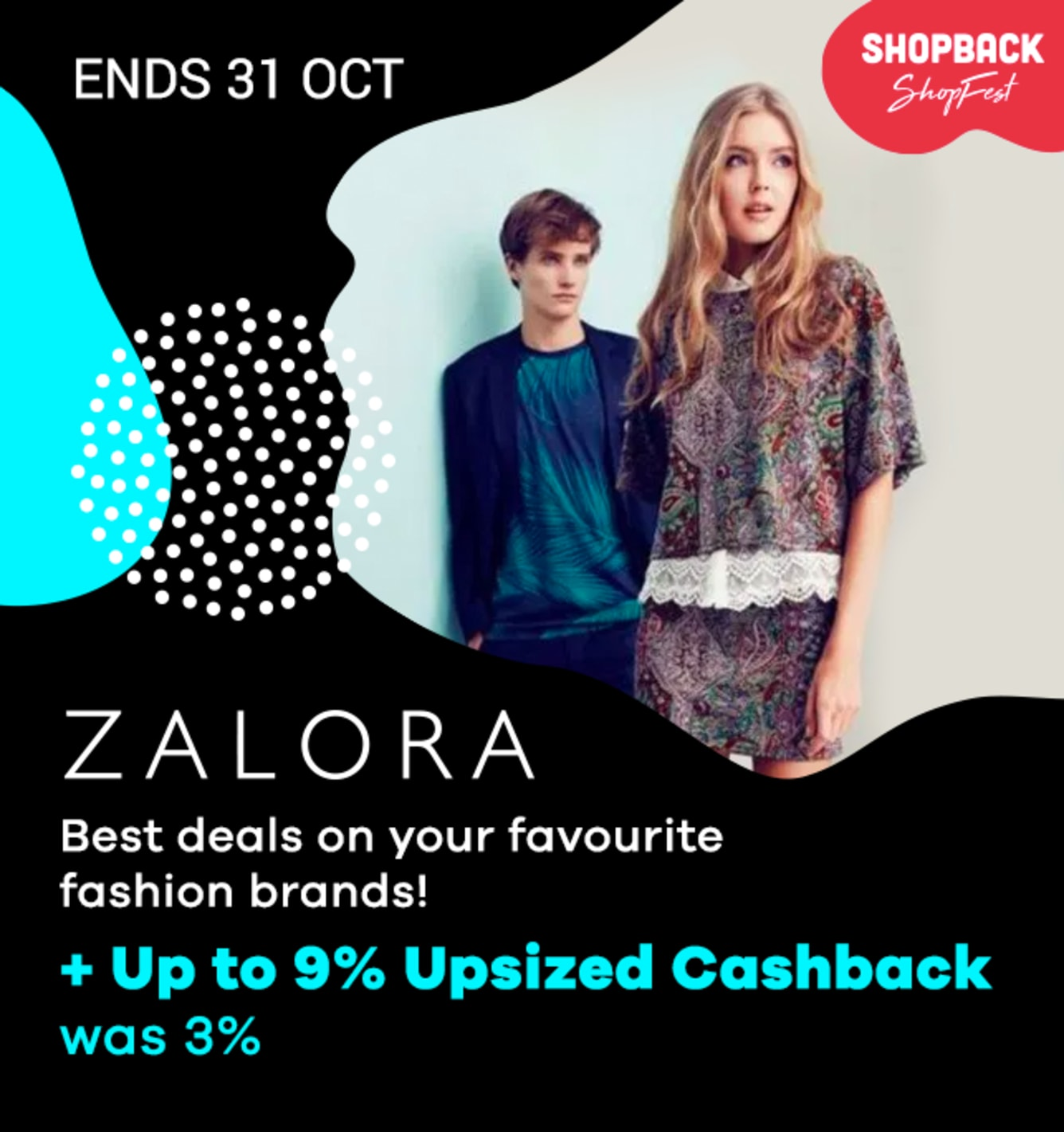 Zalora Up to 9% Cashback Shopback Shopfest