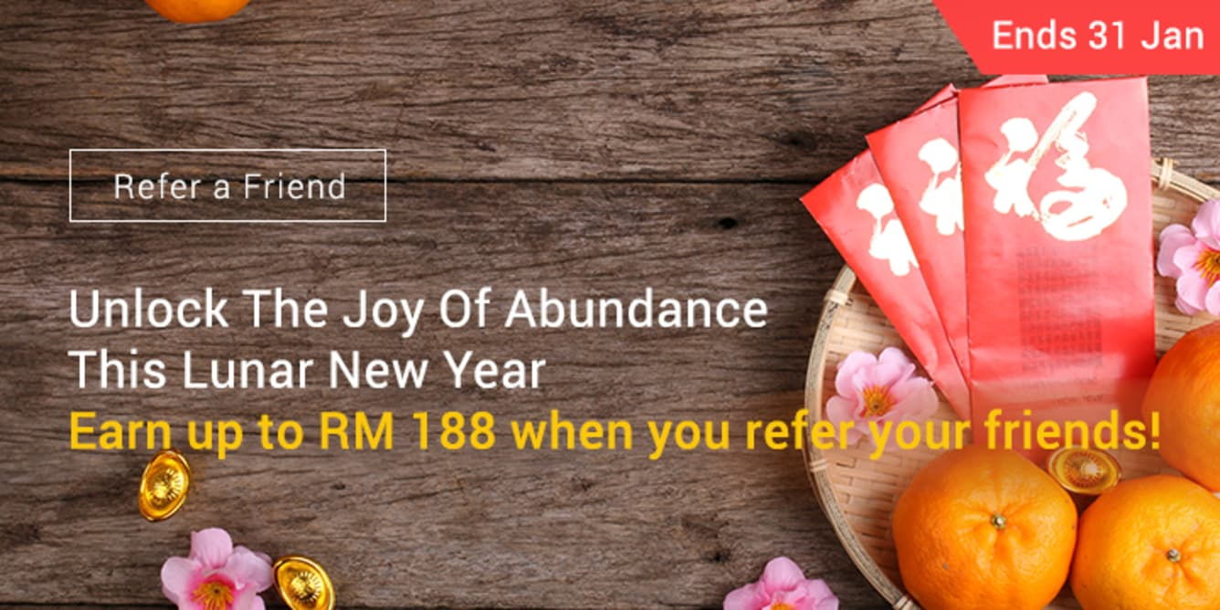 Refer 8 friends, Earn RM188 January 2018