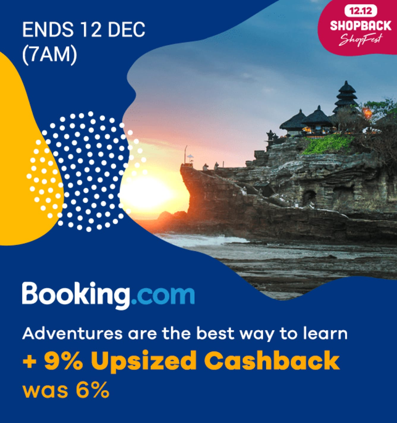 Booking.com Up to 9% Upsized Cashback