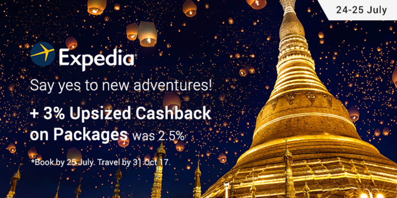 Expedia: 3% Upsized Cashback on Packages